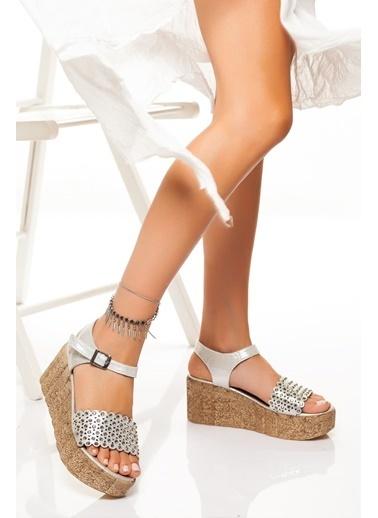 Derithy Derithy-Dolgu Topuklu Ayakkabı-Platin Gümüş